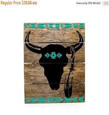 Tribal Print Steer Skull Pallet Sign