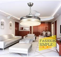 2018 Living Room Dining Lights Led Fan Stealth Ceiling Pendant Retractable 42inch Golden Lamp From Luohuisi