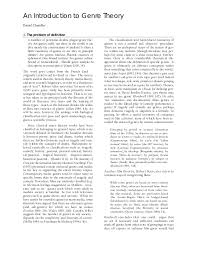 An Introduction To Genre Theory Daniel Chandler 1 The Problem Of Definition A Number