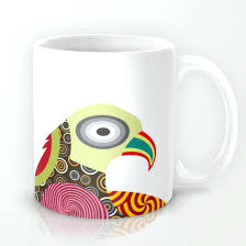 Coffee Mug Designs Bird Colourful Lover Gift Cute Unique Ceramic Cup Sleeve Design Template