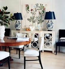 Modern Elegant Dining Room White Mirrored Buffet Wood Blue