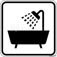 dusche badezimmer badewanne schild zeichen symbol stock