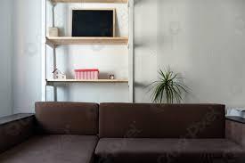 foto auf lager wohnzimmer in hellen farben braunes sofa und holzregal innen