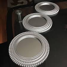Image Is Loading SET OF 3 Silver MOROCCAN ART DECO Round