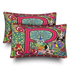 GCKG Alphabet Letter P Red Color Pillow Cases Pillowcase 20x30