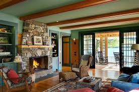 Sage Green Wall Color With Stone Fireplace For Rustic Living Room Designs Wooden Beam Ceiling