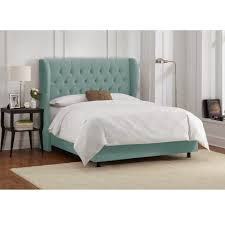 Roma Tufted Wingback Bed King by Bedding Anabelle Warm Gray Linen Eastern King Button Tufted