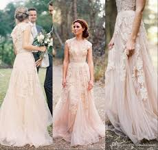 Discount Vintage Wedding Dresses Cap Sleeve Lace 2017 Champagne Ruffles Beach Gowns Deep V Neck Reem Acra Bridal Dress Designer
