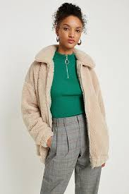 Light Before Dark Teddy Cream Zip Through Jacket