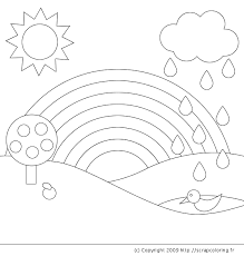 Coloring Page Rainbow Nature 2