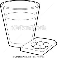 Glass Water And Pills Icon Outline Style Vector