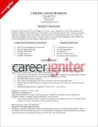 Project Manager Resume Sample Pmi Examples For Managers Template Certified