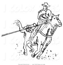 Vector Coloring Page Of A Roper Cowboy Man On Horse Using Lasso To