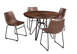 Centiar Two Tone Brown Round Dining Room Table W 4 Upholstered Side Chairs