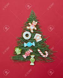 Christmas Cookies Decorated Tree On A Red Background Postcard Happy New Year Stock