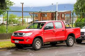 100 Hilux Truck PUCON CHILE NOVEMBER 20 2015 Red Pickup Toyota