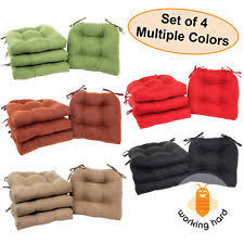 CHAIR CUSHIONS SET OF 4 Microfiber Pad Seat With Ties Durable Filling Dining
