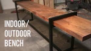 DIY Modern IndoorOutdoor Bench Wood And Steel YouTube