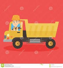 100 Is Truck Driving Hard Little Caucasian Driver A Dump Stock Vector