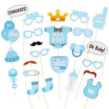 SunshineM 25pcs Photo Booth Props DIY Kit Baby Shower Girl Boy Gender Reveal Posing Props For