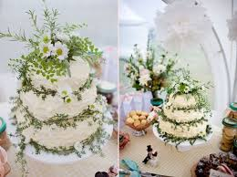 Rustic Country Wedding Cake With Herbs And Ferns
