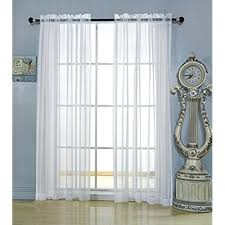 Brylane Home Lighted Curtains by Rod Pocket Door Sheer Curtains Amazon Com