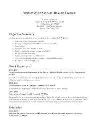 Medical Resume Samples Of Resumes For Assistant Objective Or