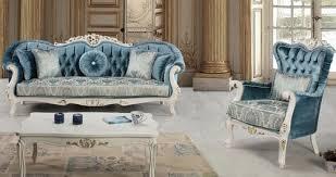 casa padrino luxus barock wohnzimmer set blau weiß gold 2 sofas 2 sessel 1 couchtisch prunkvolle wohnzimmer möbel im barockstil