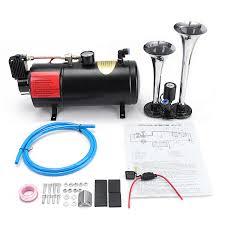 100 Truck Air Horn Kit Truck Train 2 Trumpet Air Horn Kit Loud Dual 180 Psi 12v 3l Black