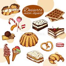 Download Vector Desserts Elements In Hand Drawn Style Delicious Food Art Illustration Sweet