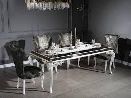 casa padrino luxus barock esszimmer set grün gold weiß 1 esstisch mit glasplatte 6 esszimmerstühle edle esszimmer möbel im barockstil