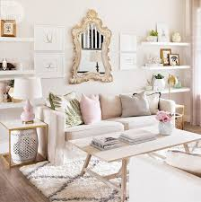 Living Room Chic Neutral Blush Rose Pink Pattern Interior