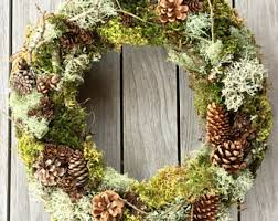 Natural 18 Forest Wreath For Spring Covered In Branches Moss Lichen Twigs Pine Cones