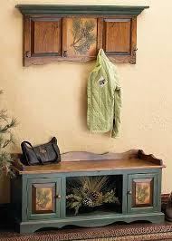 Rustic Pinecone Bench Set