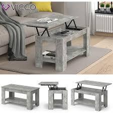vicco couchtisch lorenz höhenverstellbar eiche sofatisch kaffetisch wohnzimmer tisch