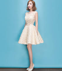 yy75 plus size a line lace scoop champagne color homecoming dress