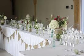 Long Wedding Guest Tables Rustic Flowers