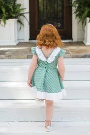 The Cuteheads X Veronikas Blushing Harper Dress Cutest Green Gingham With White Ruffled