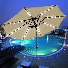 Tilt Patio Umbrella With Lights by 9 U0027 Patio Solar Umbrella Led Tilt Aluminium Deck Outdoor Garden