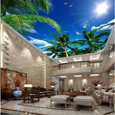 Amazing 3D Blue Sky Palm Ceiling Wallpaper For Contemporary Living Room Interior Design Ideas With Natural Wall Paint Color