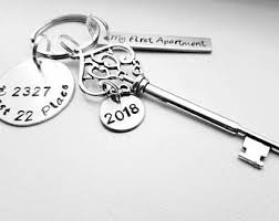 My First Apartment 2018 Personalized Hand Stamped Our New House Keychain With Address Skeleton Key