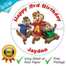 Alvin And The Chipmunks Cake Toppers by Alvin And The Chipmunks Cake Topper Personalised Edible Round