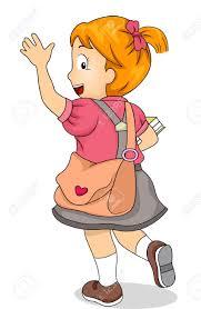 Illustration of Little Kid Student Girl Waving Goodbye