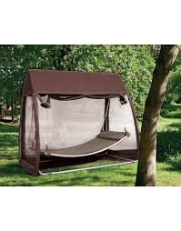 Offset Patio Umbrella With Mosquito Net by Swing Hammock