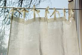 Tie Top Curtain Panel Natural White Rustic Linen French Style