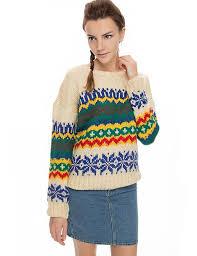 Sweater Ethnic Print Sweater Vintage Trend Graphic Print
