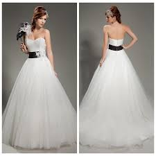 white ball gown wedding dresses black sash handmade flower