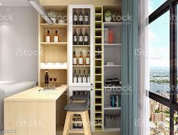 3drendering das wohnzimmerdesign des modernen wohnstadthaus hat sofa tv couchtisch bartheke weinschrank etc stockfoto und mehr bilder architektur