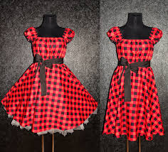 50s rockabilly swing plaid dress pin up plus size 16 18 20 red and