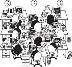 White Collar Big Group People Work In Office Clipart